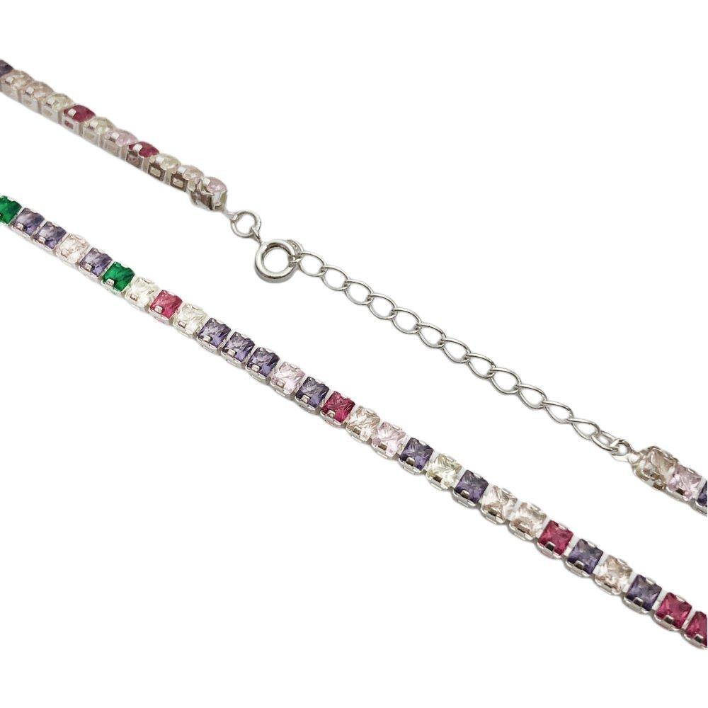 Choker Riviera Tennis Chain Pedras de Zircônia Colors 3mm (10,7g) Fecho Tradicional (Banho Prata 925)
