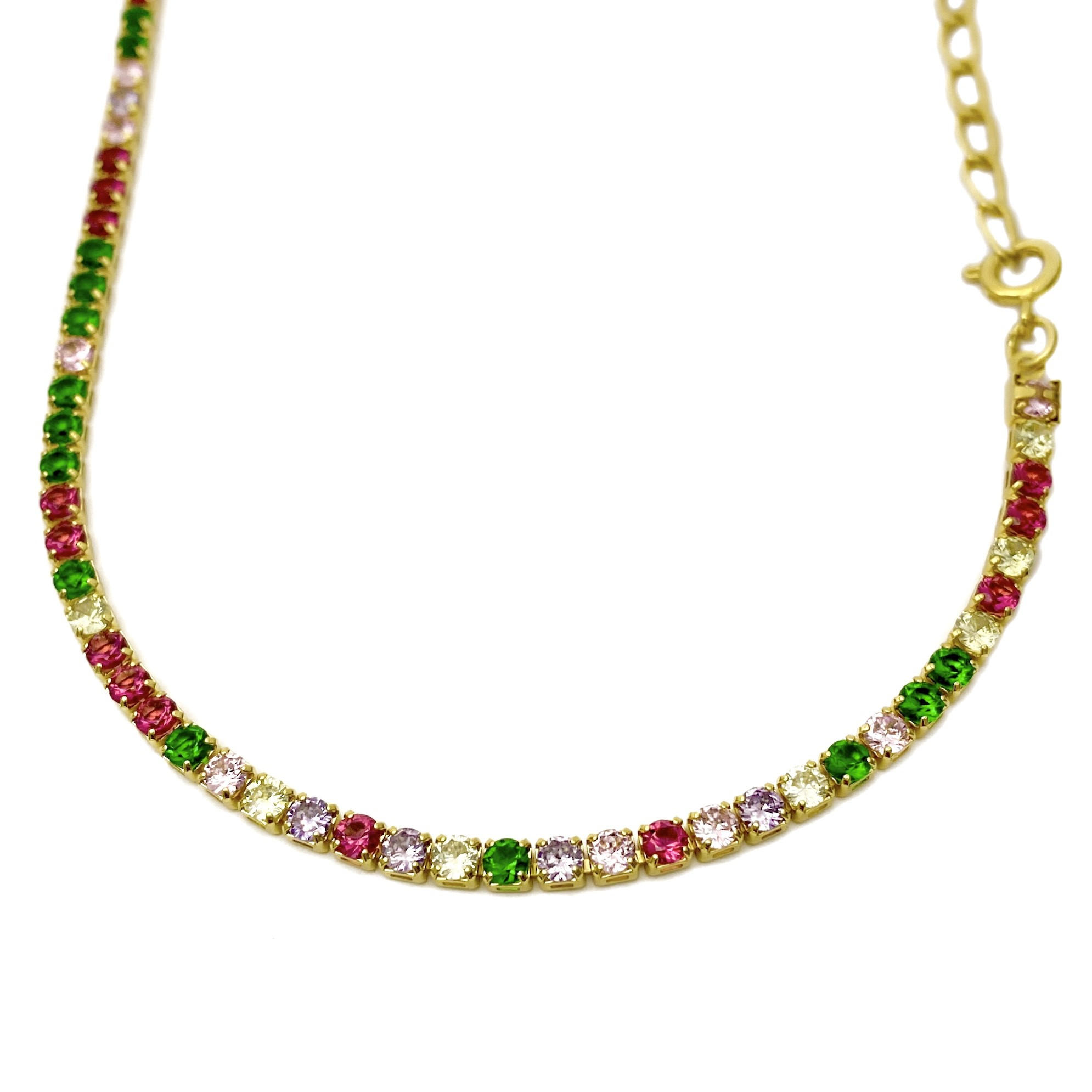 Choker Riviera Tennis Chain Pedras de Zircônia Colors 3mm Fecho Tradicional (Banho Ouro 24K)