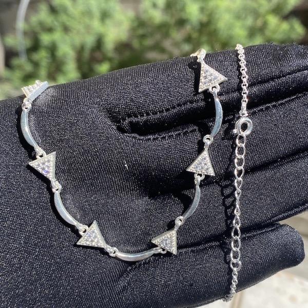 Choker Triangulos Cravejado em Zircônia (9g) (Banho Prata 925)