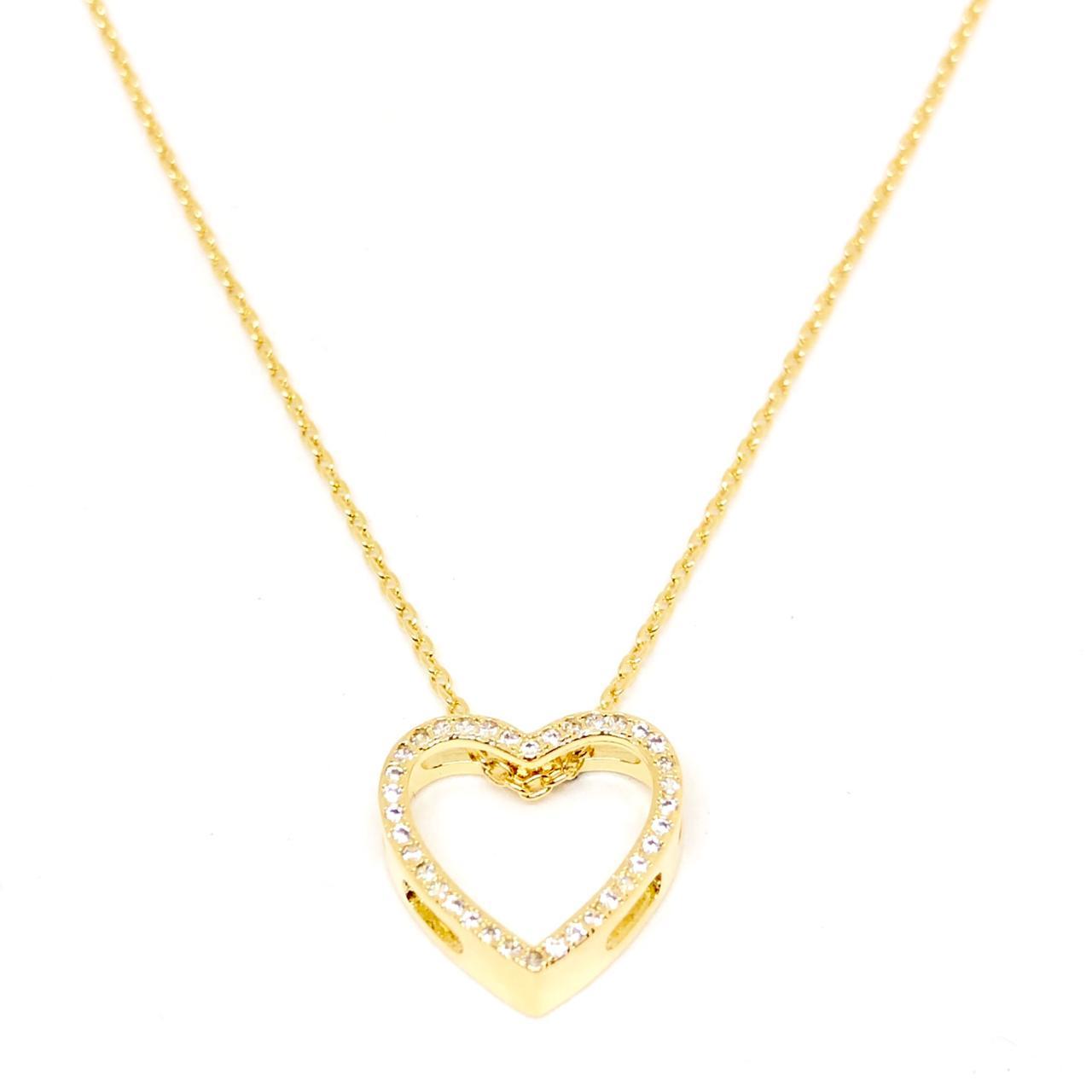 Colar Carrier Cadeado com Coração Cravejado 40cm (Banho Ouro 18k)