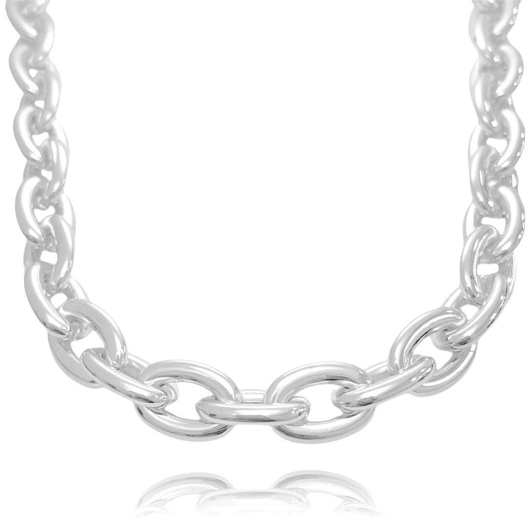"""Colar """"Chain"""" 40cm 13mm (21,3g) (Banho Prata 925)"""