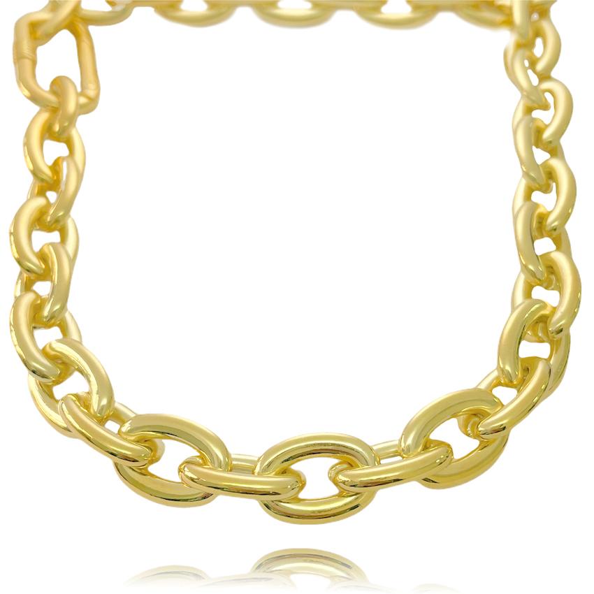 "Colar ""Chain"" 10mm 45cm (18,8g) (Banho Ouro 24k)"