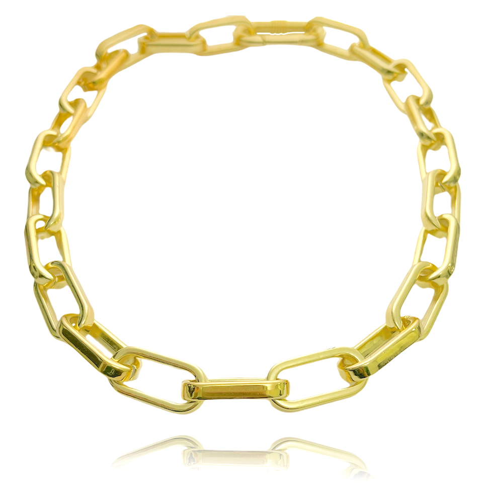 "Colar ""Chain"" 45cm 12mm (19g) (Banho Ouro 24k)"