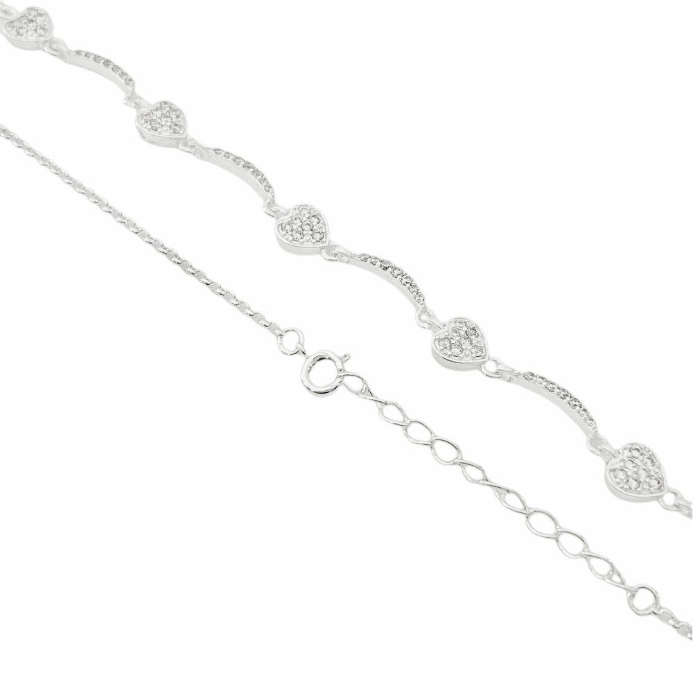 Colar Corações Cravejado em Zircônia 40cm (8,9g) (Banho Prata 925)