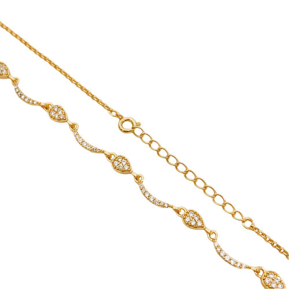 Colar Gotas Cravejadas em Zircônia 40cm (8g) (Banho Ouro 24k)