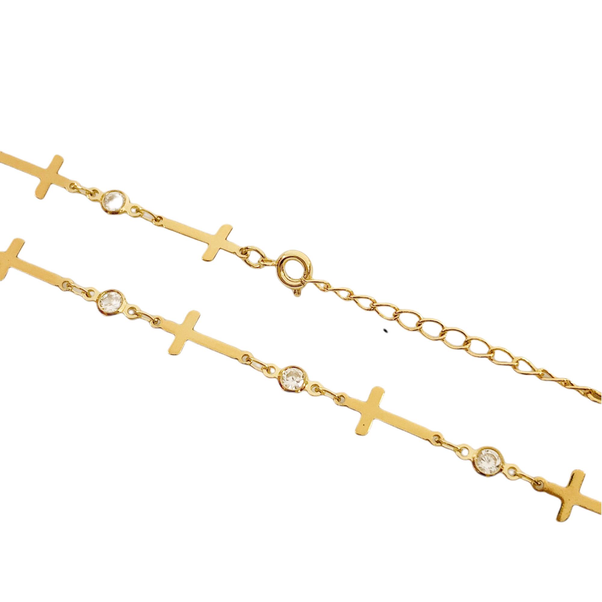 Colar Gotas de Zircônia e Crucifixo Chapado 45cm (Banho Ouro 24k)