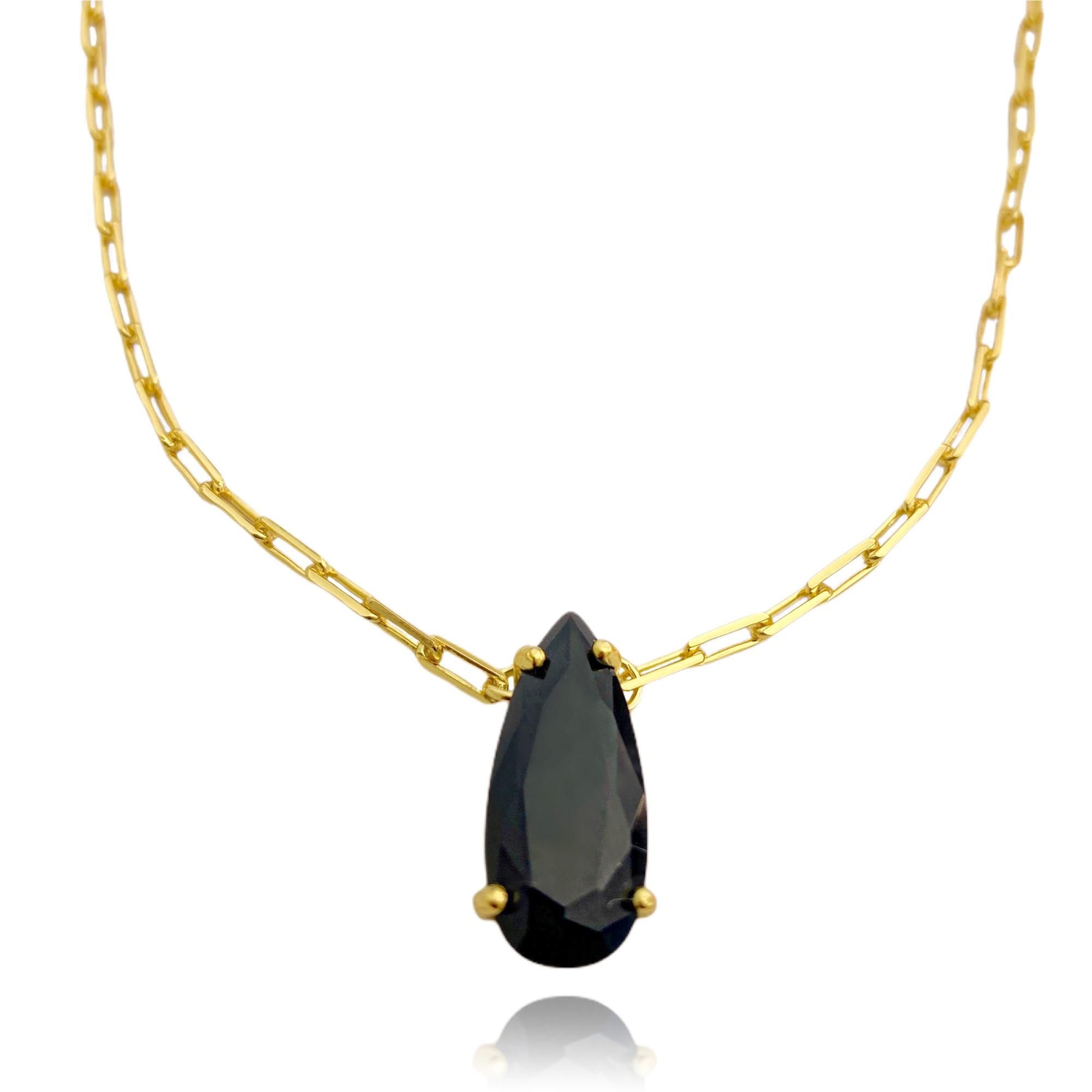 Colar Pedra de Zircônia Preta Carrier Diamantada 8,2g (Banho Ouro 24k)