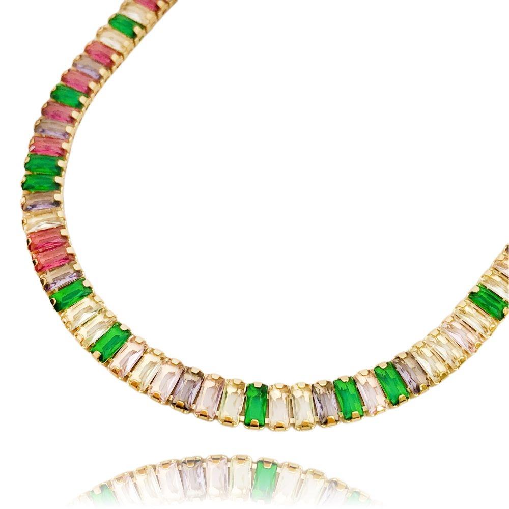 Colar Riviera Baguetes (Pedra Zircônia Multi Colors) 45cm (18,3g) (Banho Ouro 24k)