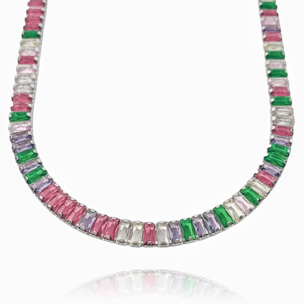 Colar Riviera Baguetes (Pedra Zircônia Multi Colors) 45cm (18,3g) (Banho Prata 925)