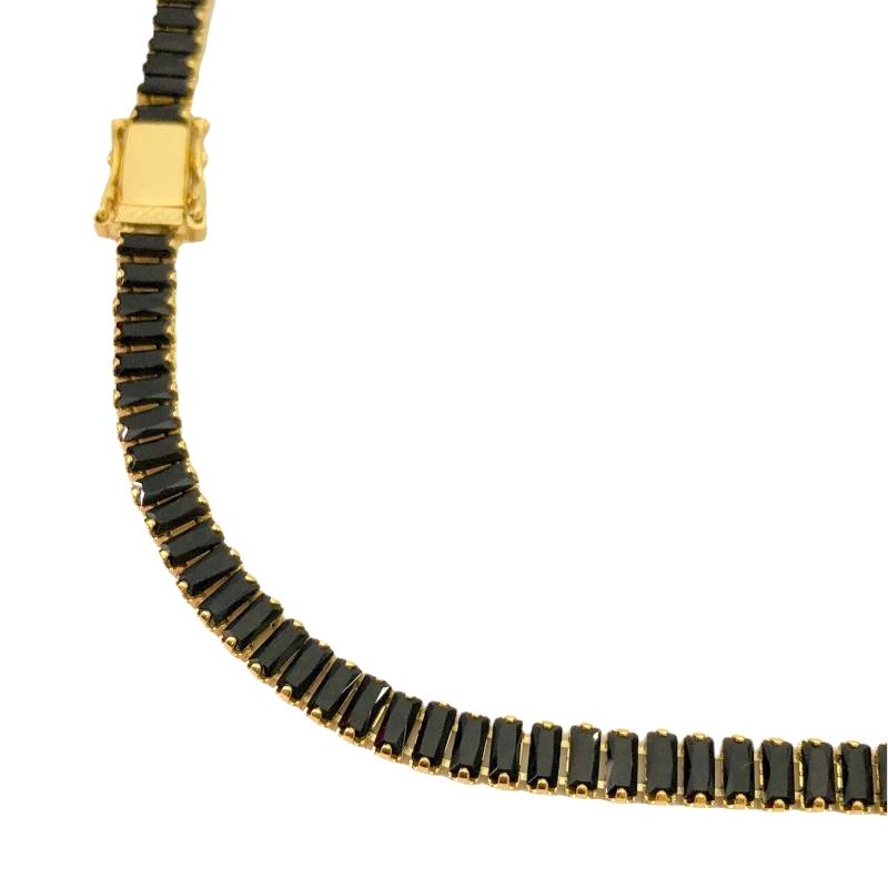 Colar Riviera Baguetes (Pedra Zircônia Preta) (20,8g) 50cm (Fecho Gaveta Duplo) (Banho Ouro 24k)