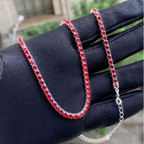 Choker Riviera Tennis Chain 3mm (8g) (Pedra Zircônia Vermelha) (Banho Prata 925)