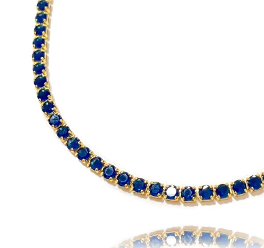 Colar Riviera Tennis Chain 3mm 45cm (9,6g) (Pedra Zircônia Azul) (Banho Ouro 24k)