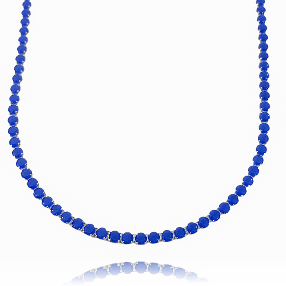 Colar Riviera Tennis Chain 3mm 45cm (9,6g) (Pedra Zircônia Azul) (Banho Prata 925)