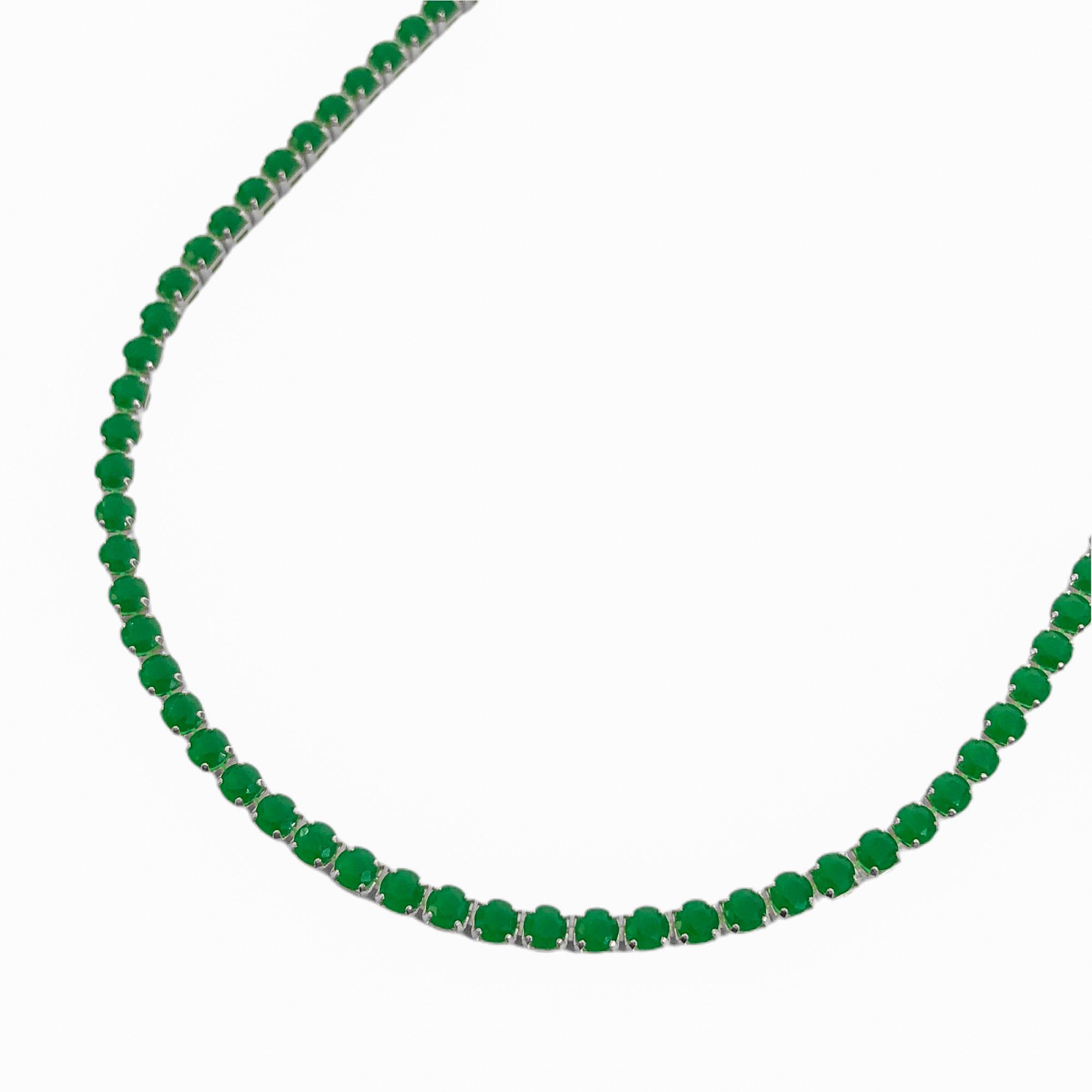 Colar Riviera Tennis Chain 3mm 45cm (9,6g) (Pedra Zircônia Verde) (Banho Prata 925)