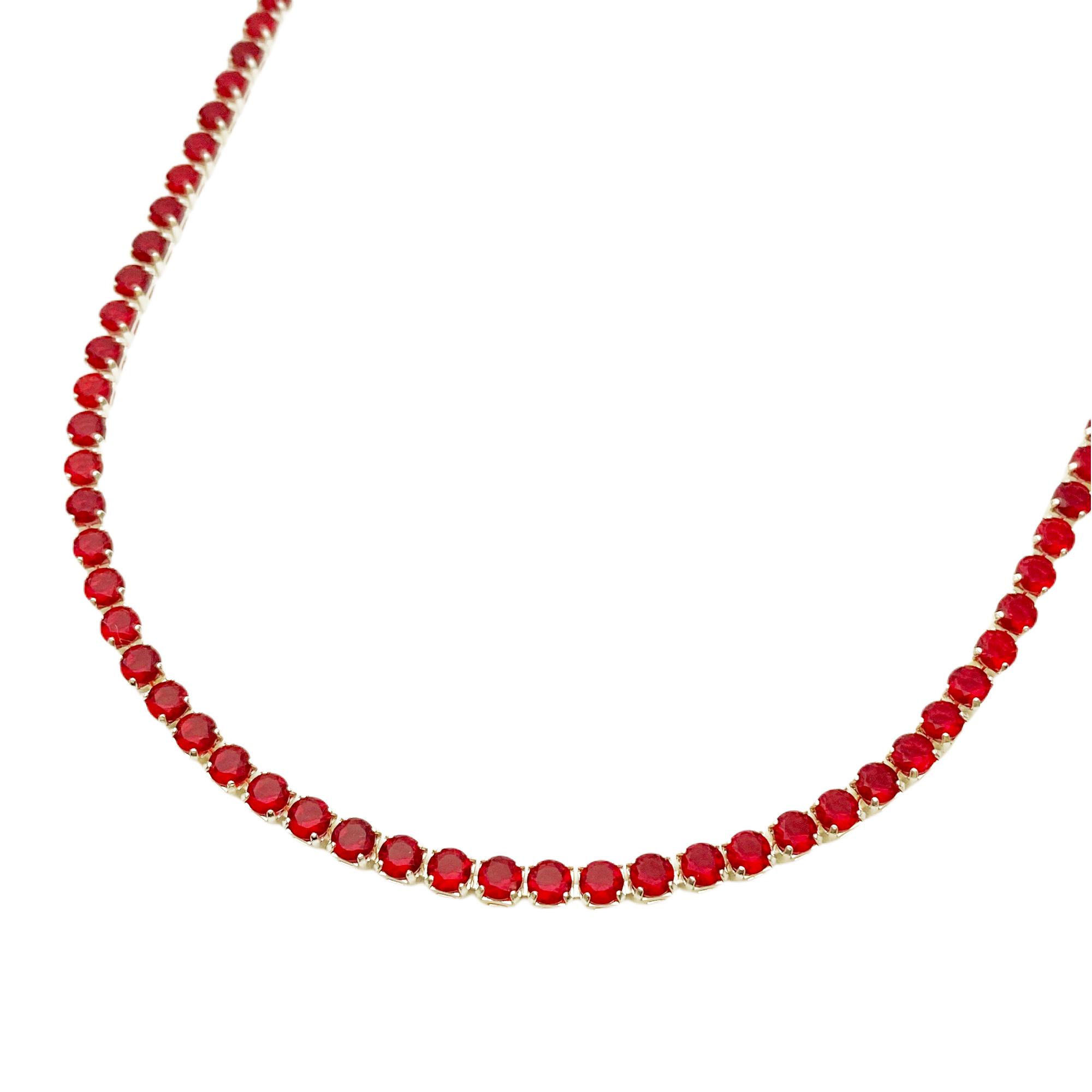 Colar Riviera Tennis Chain 3mm 45cm (9,7g) (Pedra Zircônia Vermelha) (Banho Prata 925)