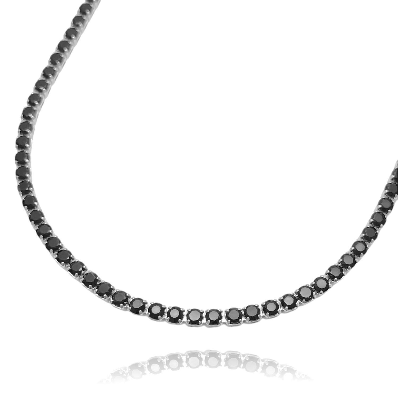 Colar Riviera Tennis Chain 3mm 45cm (Pedra Zircônia Preta) (9,7g) (Banho Prata 925)