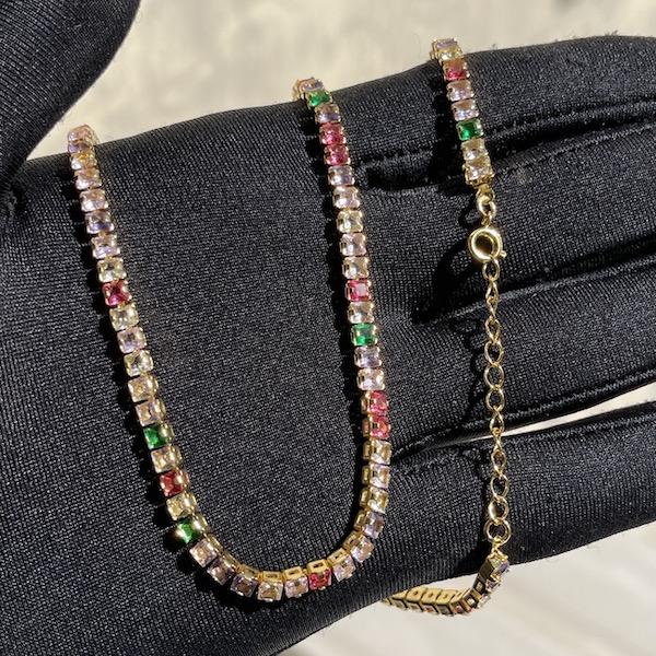 Colar Riviera Tennis Chain Pedras de Zircônia Colors 3mm 50cm (14,1g) (Fecho Tradicional) (Banho Ouro 24k)