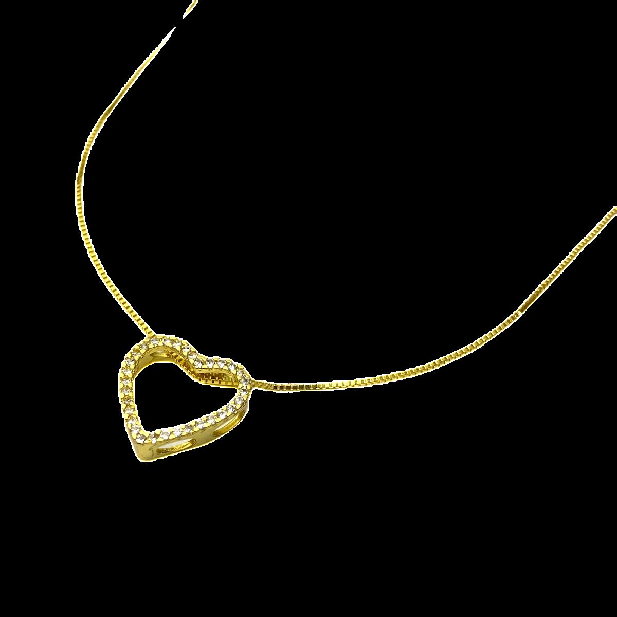 Colar Veneziana 40cm + Coração Vazado Cravejado em Zircônia (Banho Ouro 24k)