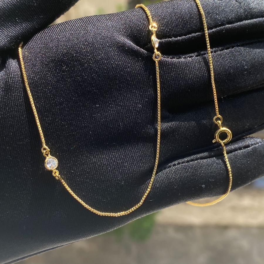 Colar Veneziana com Gotas de Zircônia 60cm (Banho Ouro 24k)