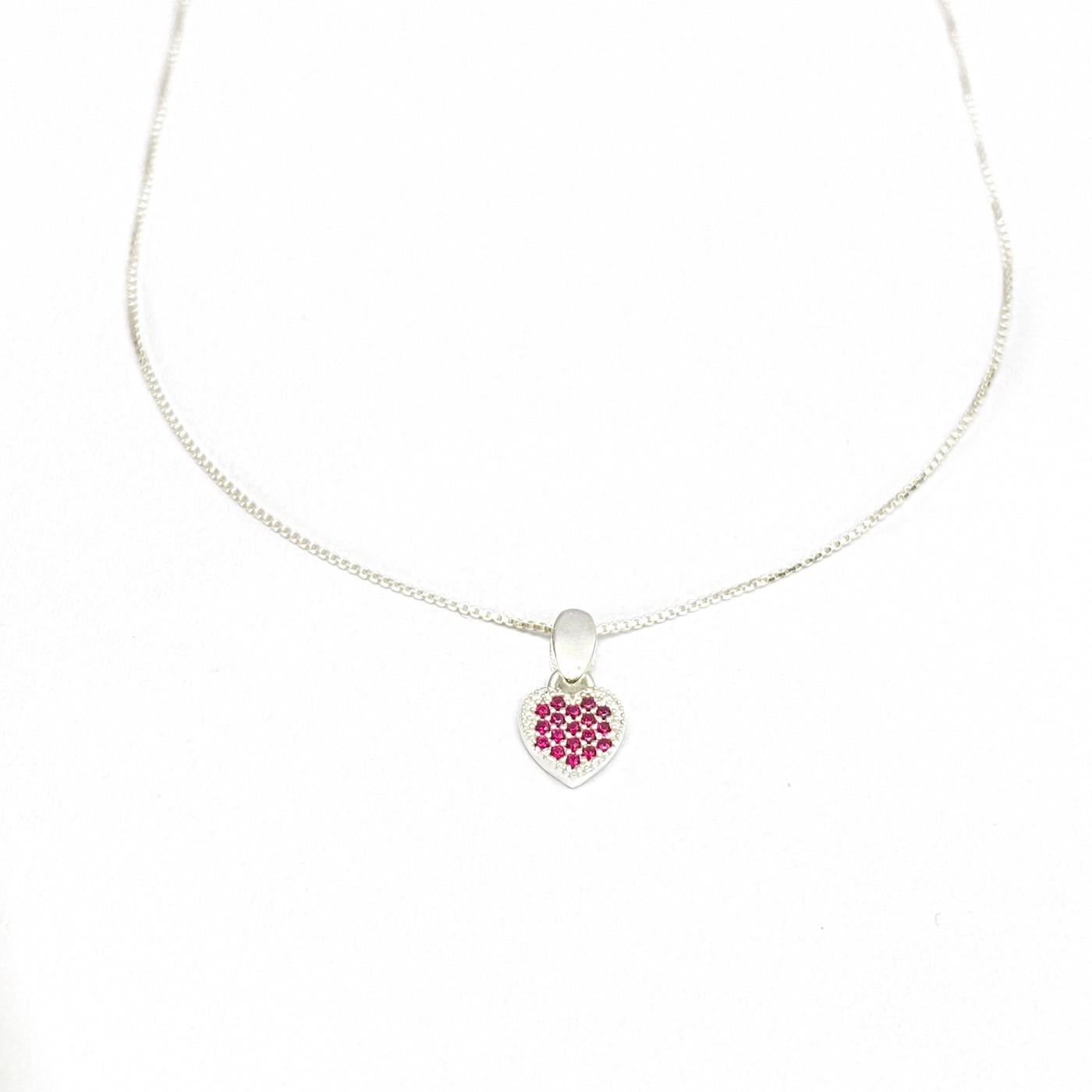 Conjunto Coração Pedras de Zircônia Rosa + Veneziana 40cm (Prata 925 Italiana)