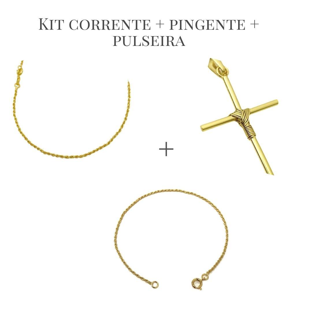 Conjunto Cordão Baiano Diamantado 1,8mm 60cm (Fecho Tradicional) + Pingente Crucifixo Trançado Mini 2,3cm X 1,3cm +Pulseira Cordão Baiano 1,5mm (Fecho Tradicional) (Banho Ouro 24k)
