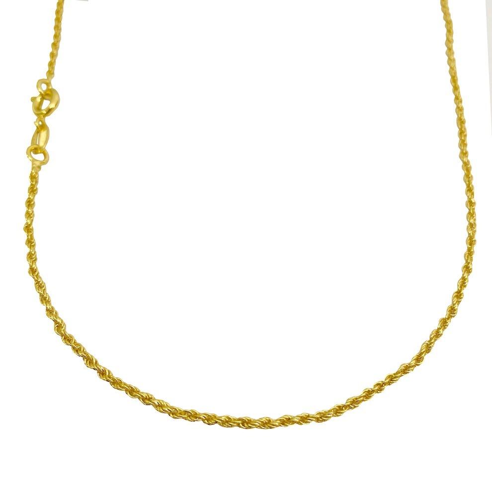 Conjunto Cordão Baiano Diamantado 1,8mm 60cm (Fecho Tradicional) + Pulseira Cordão Baiano 1,5mm (Fecho Tradicional)  (Banho Ouro 24k)