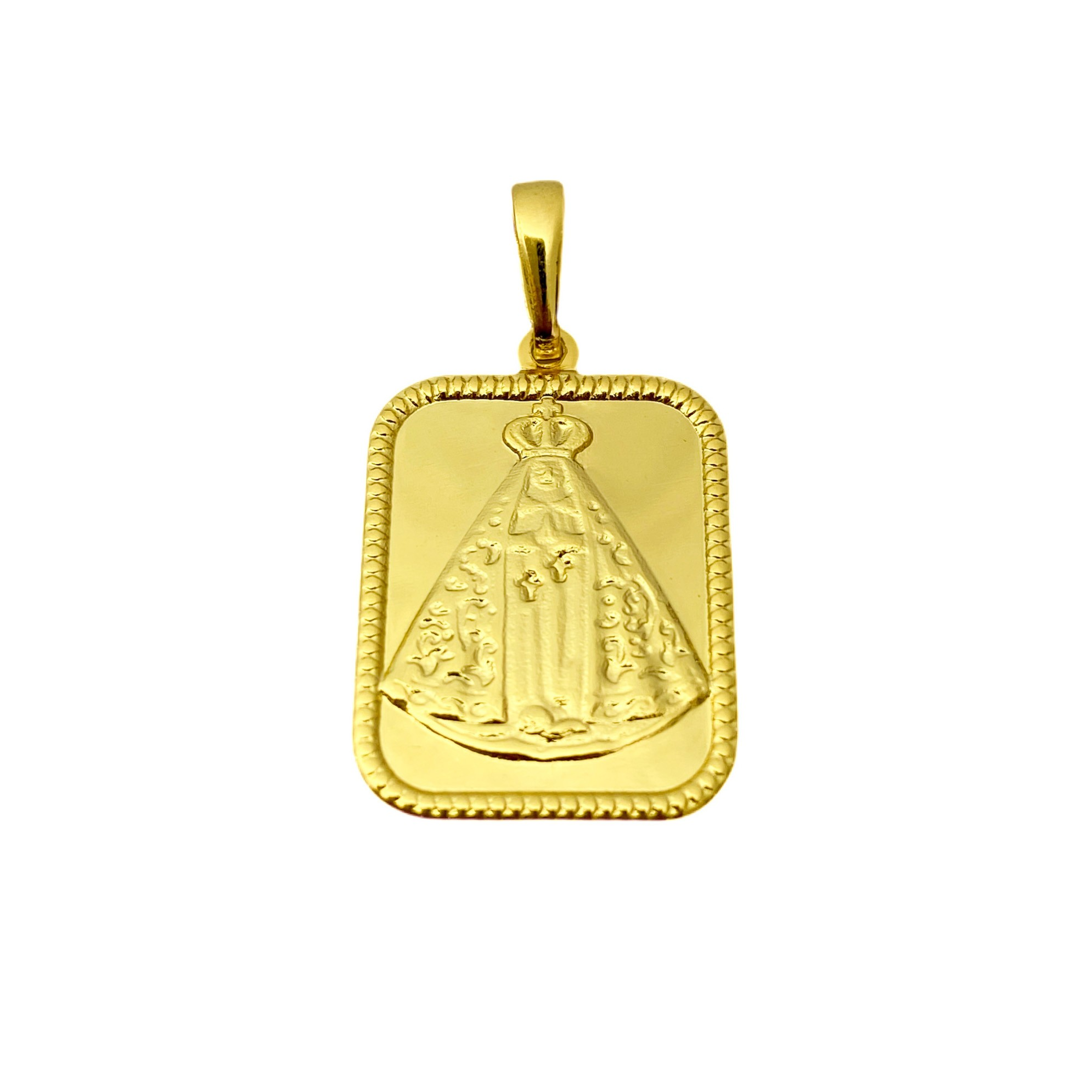 Conjunto Cordão Baiano Diamantado 2mm 60cm 8,4g (Fecho canhão) + Pingente Placa Nossa Senhora Aparecida 2,2cm X 1,7cm + Pulseira Cordão Baiano 2mm 5g (Fecho Canhão) (Banho Ouro 24k)