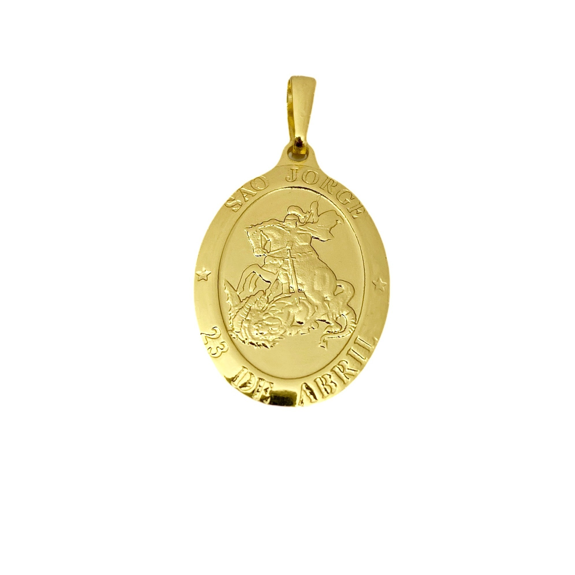 Conjunto Corrente 3 por 1 3mm 60cm 5,8g (Fecho Gaveta) + Medalhão de São Jorge 2,6cm X 1,7cm + Pulseira 3 por 1 3mm 3g (Fecho Gaveta) (Banho Ouro 24K)