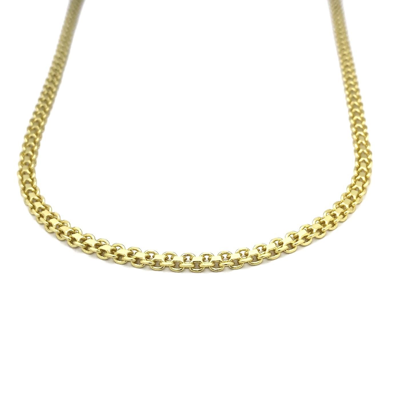 Conjunto Corrente Cadeado Duplo 3,5mm 60cm 13g (Fecho Gaveta) + Medalhão de São Bento (dupla face) 2,0cm X 2,0cm + Pulseira Cadeado Duplo 3,5mm 5g (Fecho Gaveta) (Banho Ouro 24K)