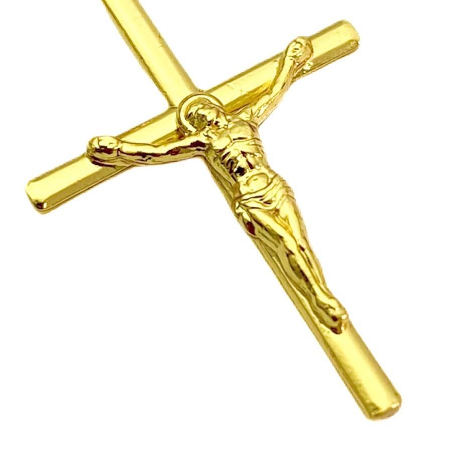 Conjunto Corrente Carrier Cadeado 2mm 60cm (Fecho Tradicional) + Pingente Crucifixo Cristo Relevo 2,5cm X 1,6cm + Pulseira Carrier Cadeado 2mm (Fecho Tradicional) (Banho Ouro 24K)
