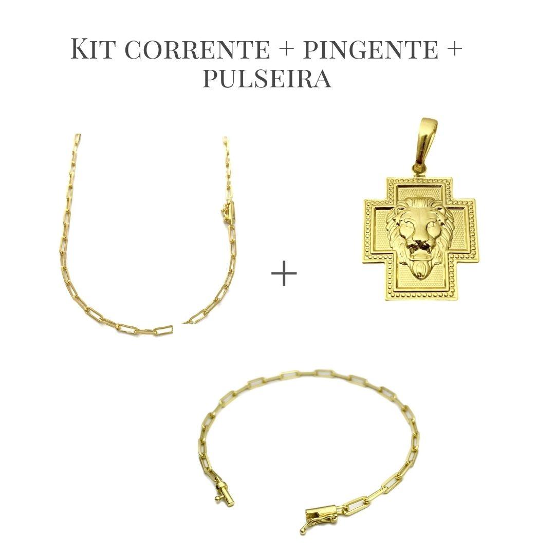 Conjunto Corrente Carrier Diamantada 3mm 60cm 10,5g (Fecho Canhão) + Pingente Crucifixo Face Leão 1,8cm X 2,3cm + Pulseira Carrier Diamantada 3mm 4,5g (Fecho Canhão) (Banho De Ouro 24k)