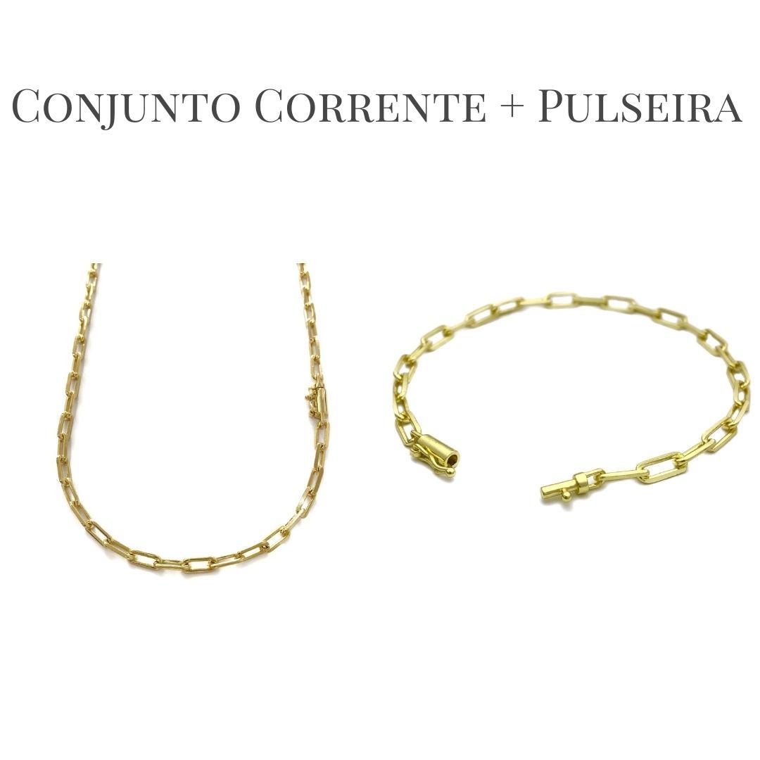 Conjunto Corrente Carrier Diamantada 4mm 60cm 15g (Fecho Canhão) + Pulseira Carrier Diamantada 4mm 6g (Fecho Canhão) (Banho Ouro 24k)