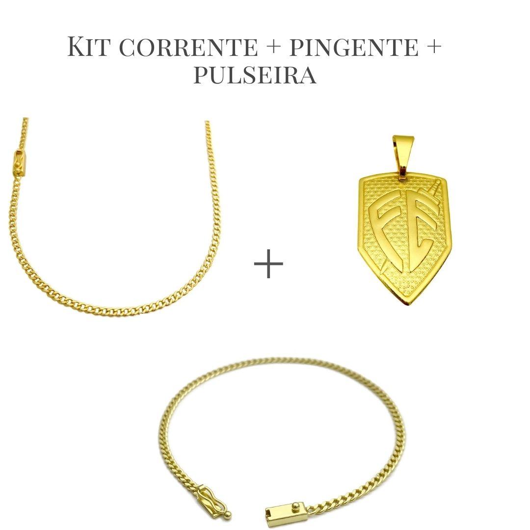 Conjunto Corrente Grumet 2,5mm 60cm (Fecho Gaveta) + Pingente Placa Escudo da Fé M (2,8X1,8cm) (2,5g) + Pulseira Grumet 2,5mm (Fecho Gaveta) (Banho Ouro 24k)