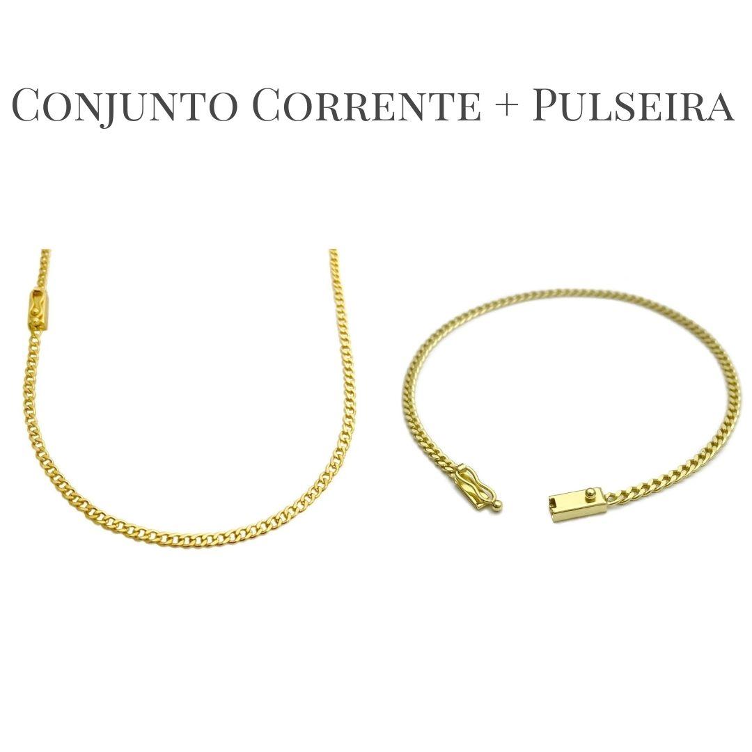 Conjunto Corrente Grumet 2,5mm 60cm (Fecho Gaveta) + Pulseira Grumet 2,5mm (Fecho Gaveta) (Banho Ouro 24k)