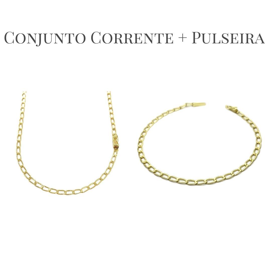 Conjunto Corrente Grumet Aberta 3mm 60cm 7,6g (Fecho Gaveta) + Pulseira Grumet Aberta 3mm (Fecho Gaveta) (Banho Ouro 24K)