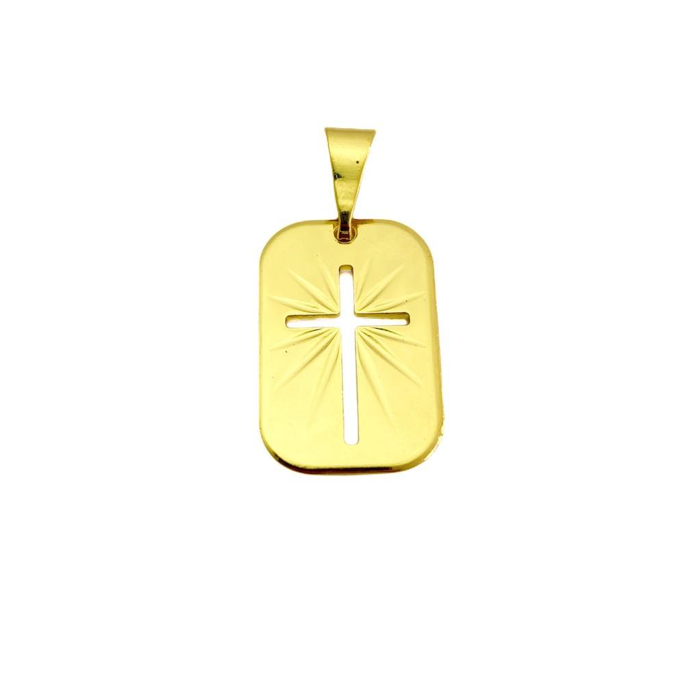 Conjunto Corrente Peruana 2mm 60cm 6g (Fecho Tradicional) +Placa Com Cruz Vazada 1,9cm X 1,3cm + Pulseira Peruana 2mm (Fecho Tradicional) (Banho Ouro 24K)