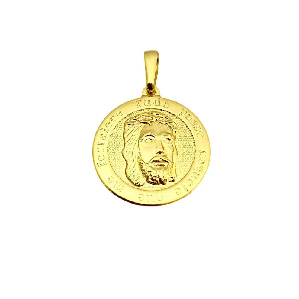 Conjunto Corrente Veneziana 1,2mm 60cm (Fecho Tradicional) + Pingente Face de Cristo Redondo 2,0cmx2,0cm +Pulseira Veneziana 2mm 6g (Fecho Canhão) (Banho Ouro 24k)