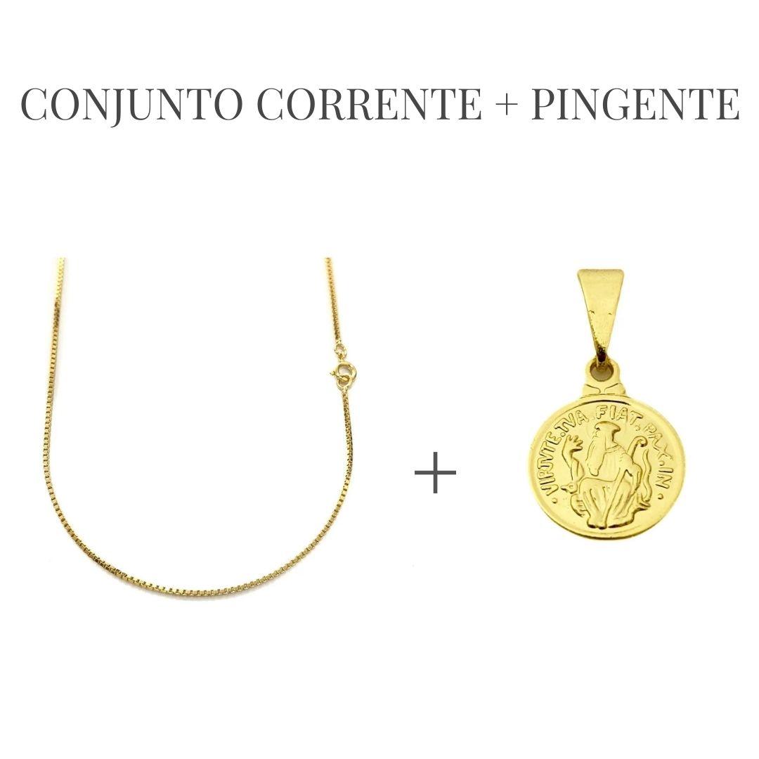 Conjunto  Corrente Veneziana 1,2mm 60cm (Fecho Tradicional) + Pingente São Bento 1,1x1,1cm (Banho Ouro 24k)