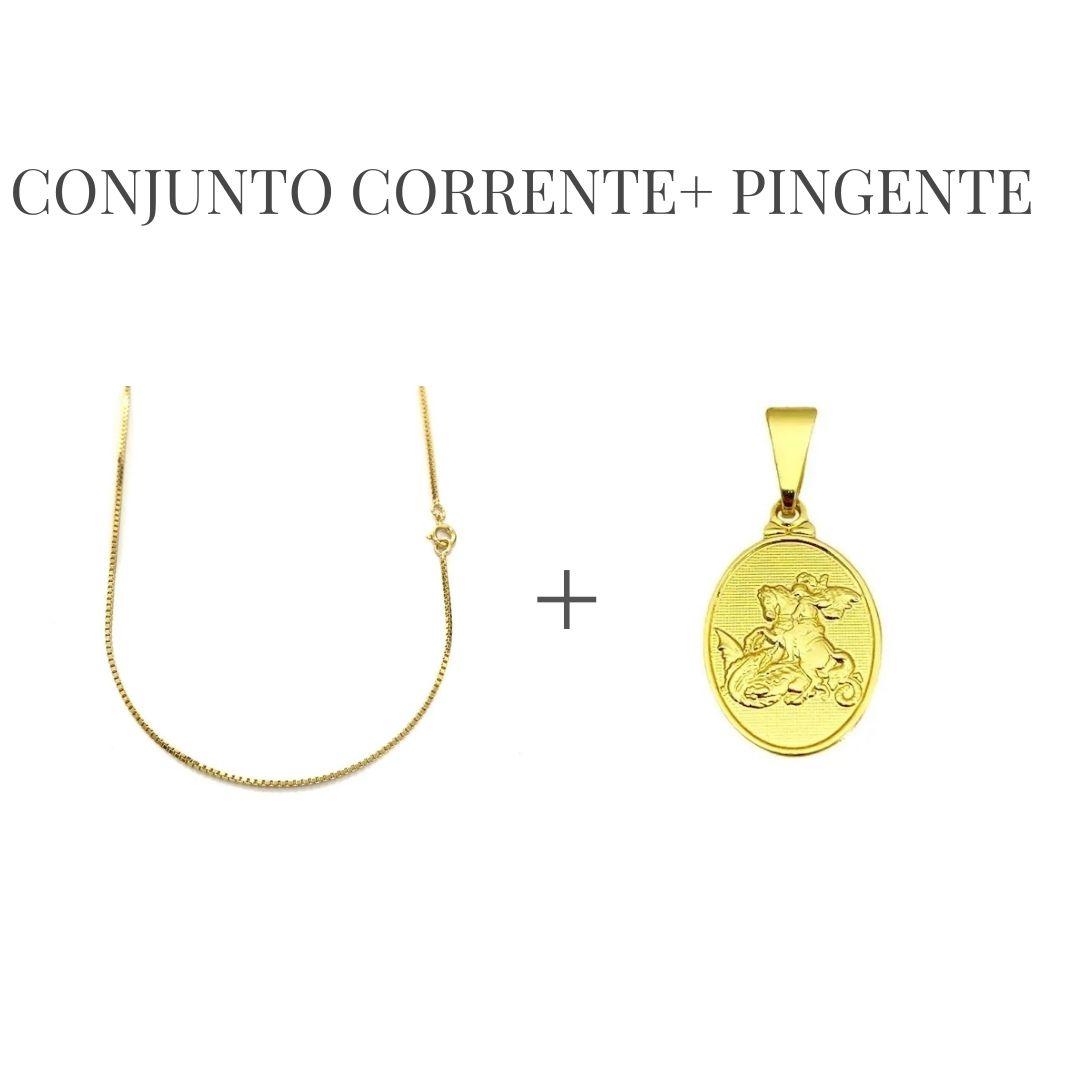 Conjunto Corrente Venezizna 1,2mm 60cm (Fecho Tradicional) + Pingente Mini São Jorge Textura (1,7x1,1cm) (Banho Ouro 24k)