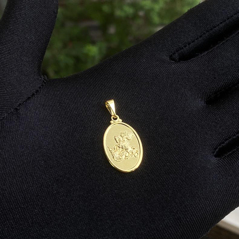 Conjunto Corrente Venezizna 1,2mm 70cm (Fecho Tradicional) + Pingente Mini São Jorge Textura (1,7x1,1cm) (Banho Ouro 24k)