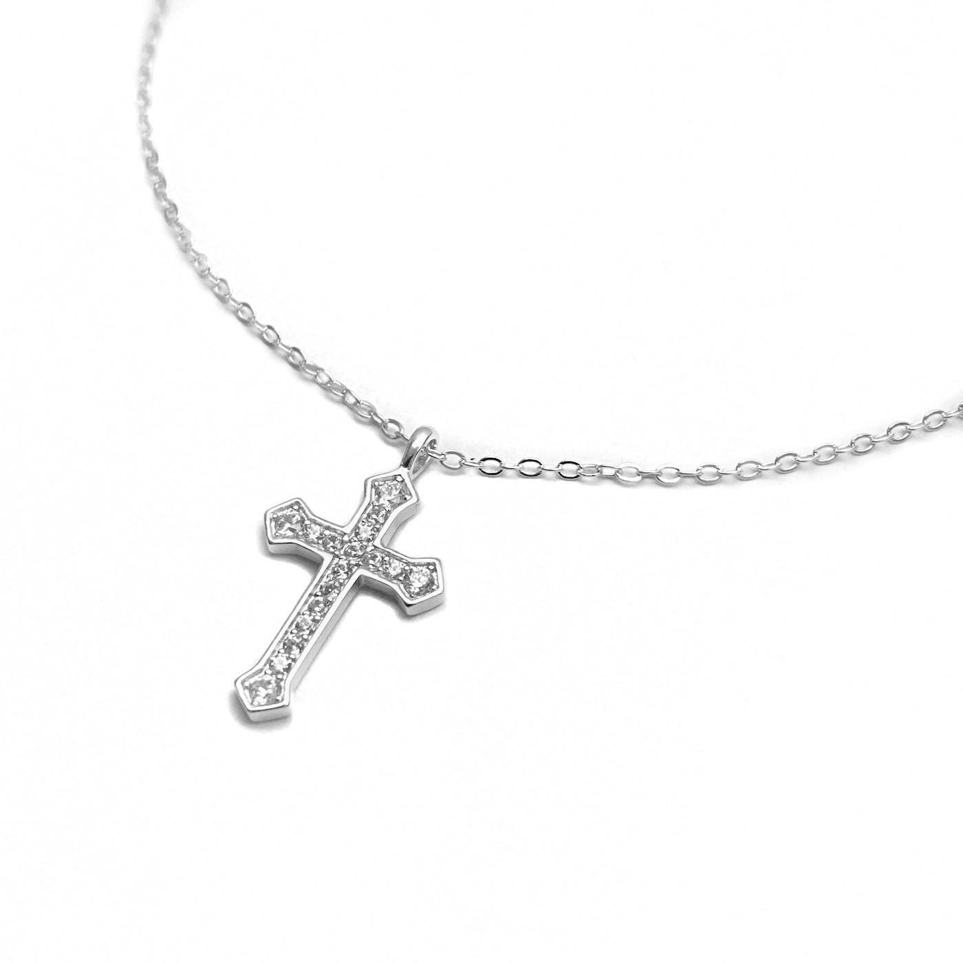 Conjunto Crucifixo Cravejado 2mm X 11mm  + Carrier 42cm (Prata 925 Italiana)