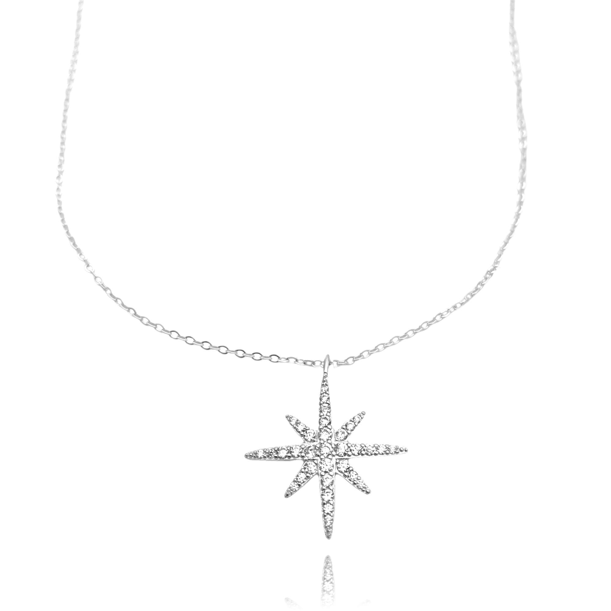 Conjunto Estrela Cravejada 8 pontas + Carrier 42cm (Prata 925 Italiana)