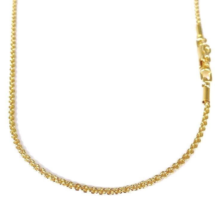 Corrente Cordão Baiano Diamantado 2mm 60cm (8,4g) (Fecho Canhão) (Banho Ouro 24k)