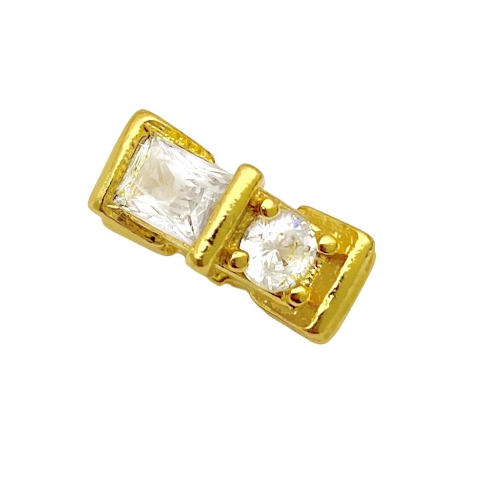 Corrente 3 por 1 1,6mm 40cm (Fecho Tradicional) + Pingente Octa Cravejado em Zircônia (1x1cm) (Banho Ouro 24k)