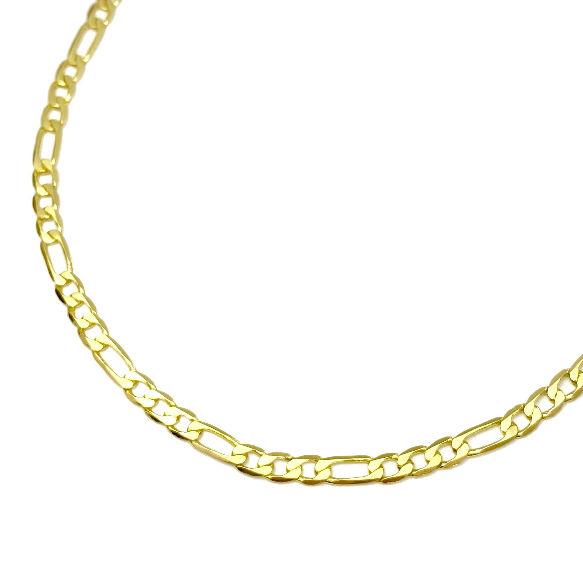 Corrente 3 por 1 3mm 60cm 5,8g (Fecho Gaveta) (Banho Ouro 24k)