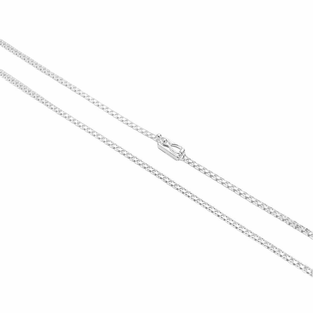 Corrente Cadeado Duplo 2,8mm 60cm (8g) (Fecho Gaveta) (Banho Prata 925)