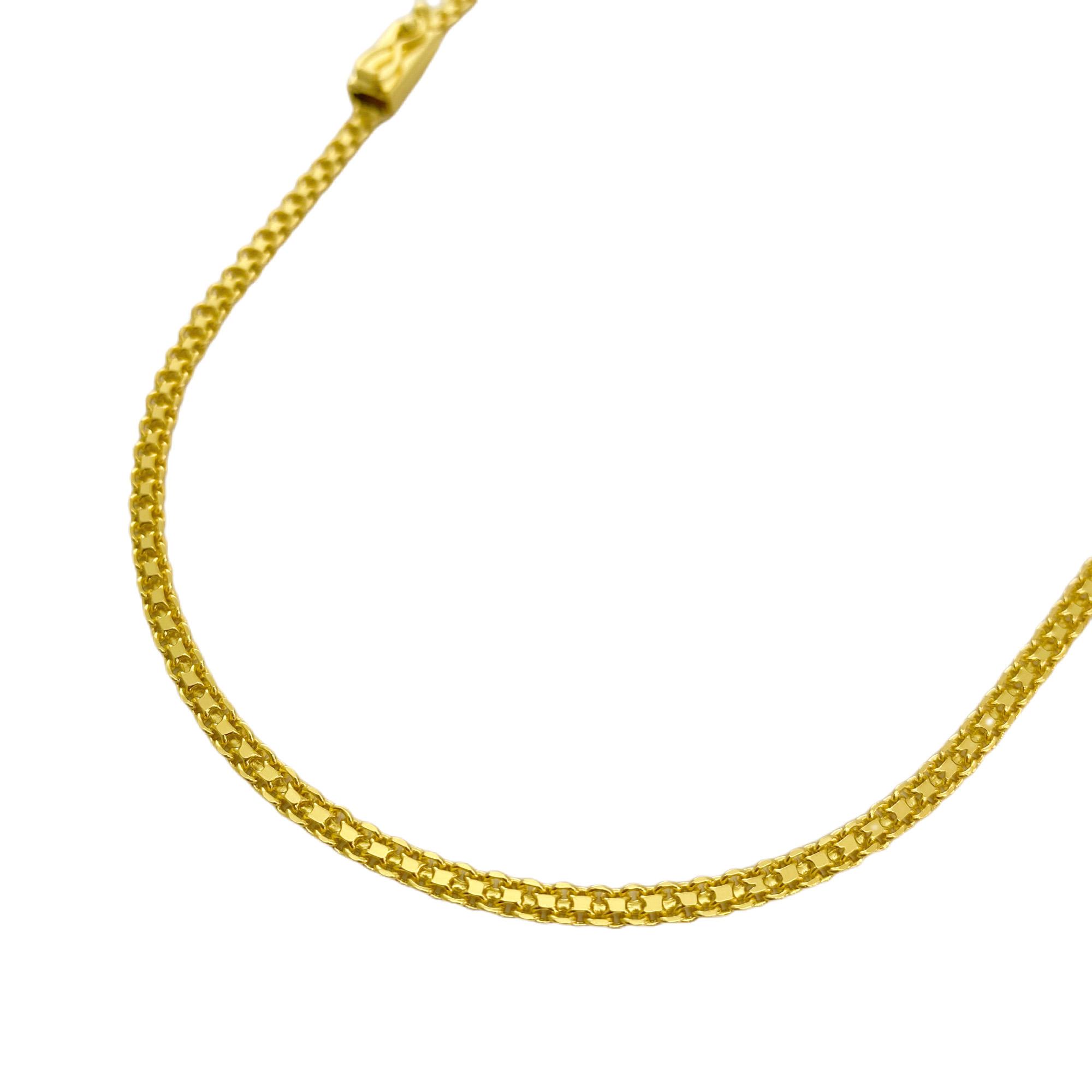 Corrente Cadeado Duplo 2,8mm 70cm (10g) (Fecho Gaveta) (Banho Ouro 24K)