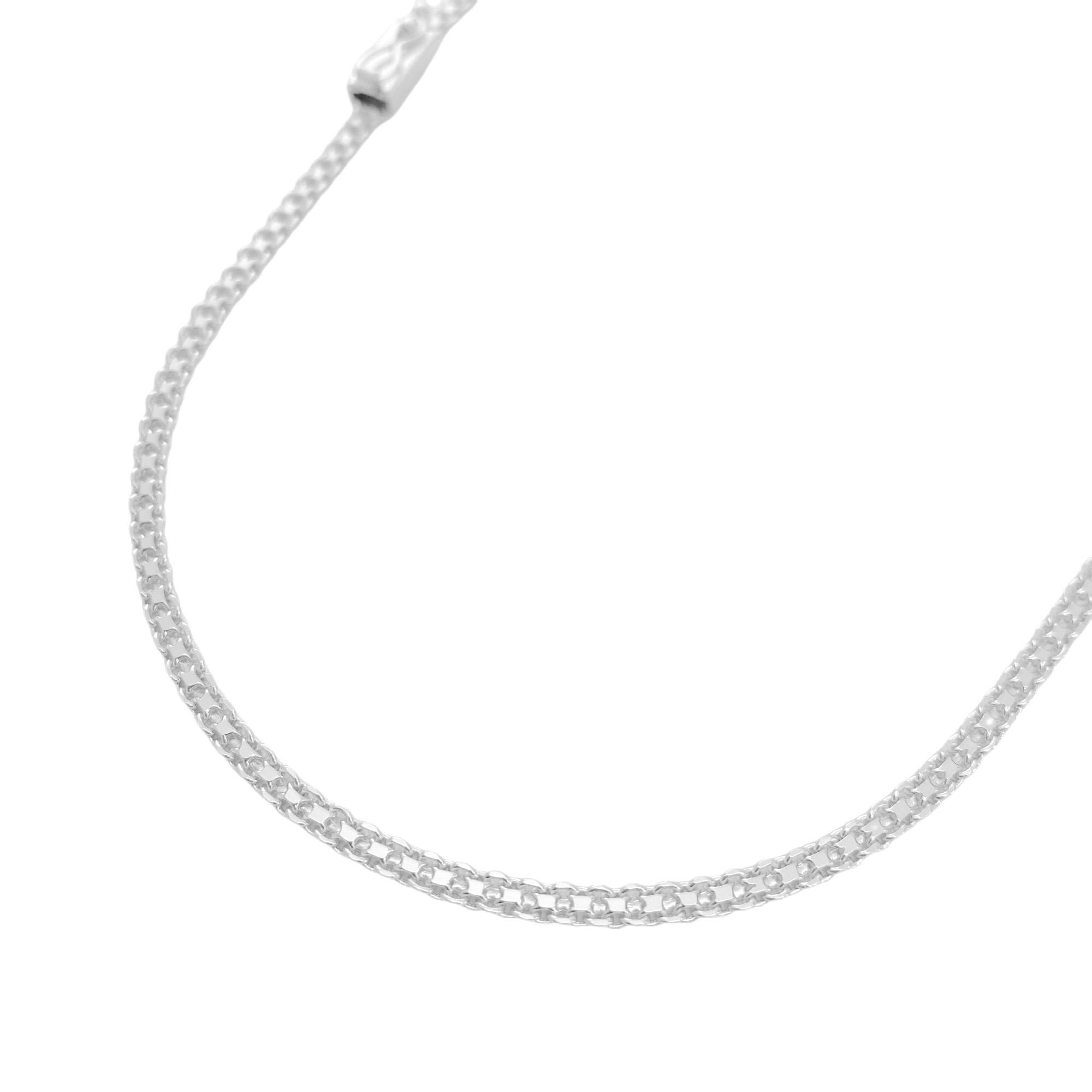 Corrente Cadeado Duplo 2,8mm 70cm (10g) (Fecho Gaveta) (Banho Prata 925)