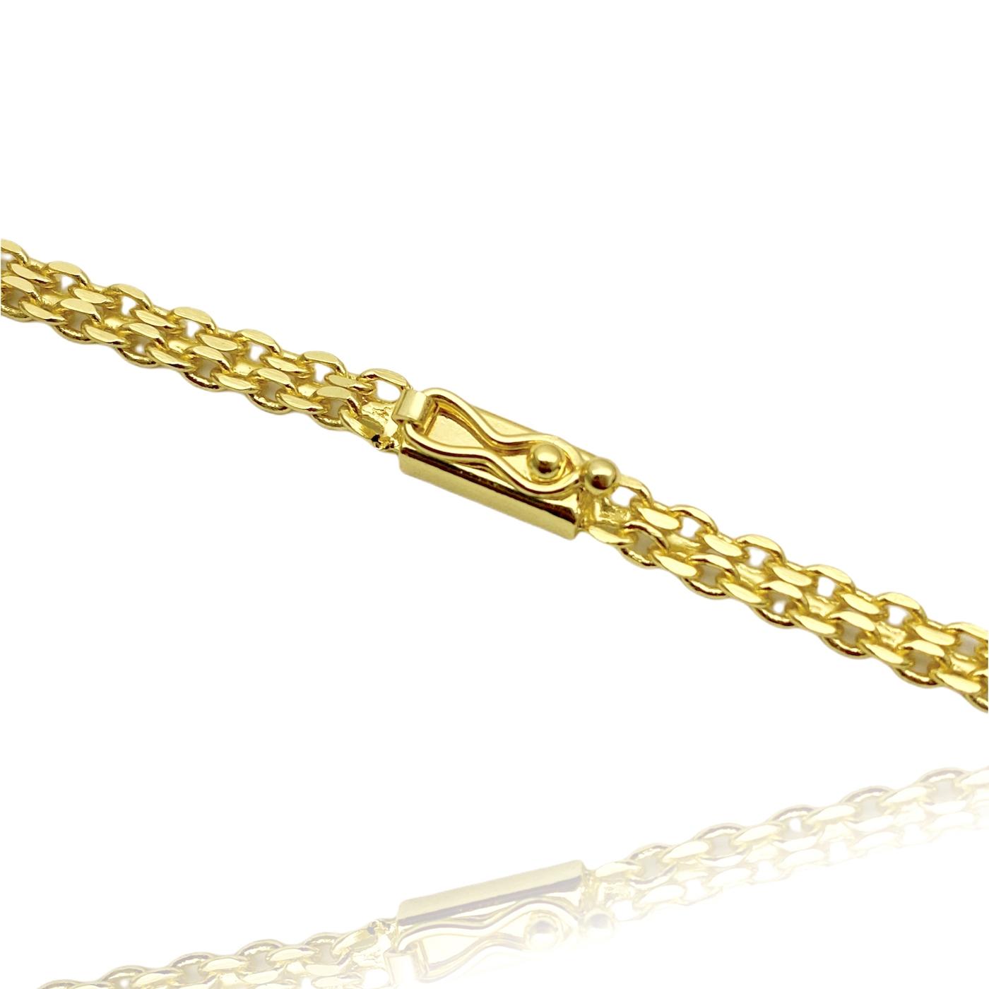 Corrente Cadeado Duplo 3,5mm 60cm (13g) (Fecho Gaveta) (Banho Ouro 24k)