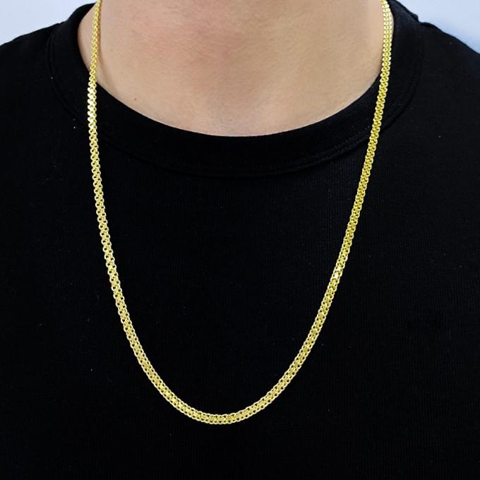 Corrente Cadeado Duplo 3,5mm 70cm (15g) (Fecho Gaveta) (Banho Ouro 24k)